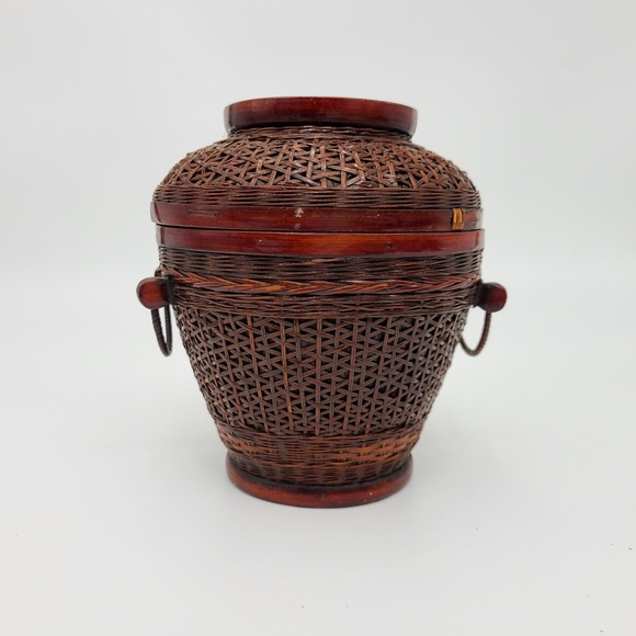 Chinese Export Other - Hand Woven Wicker Basket, Red, Vintage Chinese